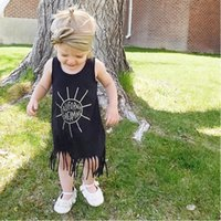 Wholesale Sun Dresses For Kids - Wholesale Girls Dresses Summer 2017 Fashion Tassel Toddler Girl Dress Sun Letter Cafilornia Dreaming Kids Dresses For Baby Clothes Outfits