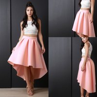 Wholesale Women S Pageant Dresses - Newest Pink High Low Women Skirs For Teens Satin Pleats A Line Prom Party Dresses Zipper Back Cheap Girls Pageant Skirts