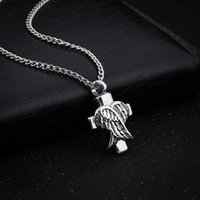 Wholesale acrylic angles - Angle Wings Cross Cremation Jewelry Silver Urn Necklace Pendant Memorial Keepsake Necklace Locket Jewelry