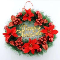 Wall Mounted outdoor wall ornaments - Red Christmas Wreath Ornaments Christmas Tree Decoration Holiday Jingle Bell Garland Xmas Party Outdoor