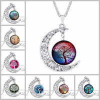 Wholesale Metal Tree Charms Pendants - 140 models Vintage moon necklace starry Moon Outer space Universe Gemstone necklaces pendants Tree of life necklace hot