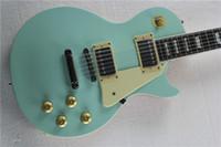 Wholesale Guitar Case Blue - Hot Sale Original wood color Back Body Sky Blue Standard Electric Guitar 6 string Guitars have Hard Case