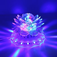 Wholesale Led Lotus Crystal Lamp - Lotus Effect Light Auto Rotating 11W LED RGB Crystal Stage Light 51pcs Bead Lamp for Home Decoration DJ Disco Bar Best Gift