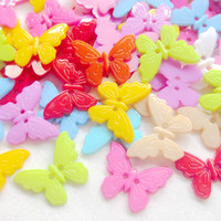 Wholesale Hole Plastic Buttons - New 100pcs Mix Butterfly Plastic Buttons 22mm Sewing Craft 2 Holes
