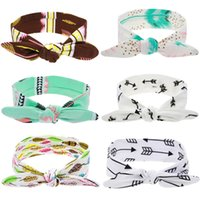 Wholesale Baby Accessoires - Twist Knob Headbands for Babies and Toddlers Feather Arrows Prints IG Kids Hair Accessoires Turban Thanksgiving Head Wraps Daily Bandanas