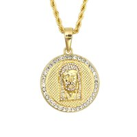 Wholesale 14k Jesus Pendant - Men's Jesus Face Pendant Hip-hop with FREE Rope Chain 24