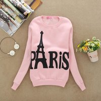 Wholesale Paris Chic - 2017 Long Sleeve pullover greywhite fleece for men women bangtan O-neck Hoodies fasion casual TOPS bts print letter pink chic bf Paris