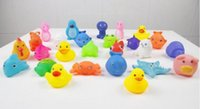 Wholesale Kids Swimming Item - 100pcs kids Rubber water toys toddler baby bath swimming toy yellow ducks Animal BB call sound dolls kids gift free shipping
