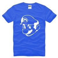 Wholesale Gray Mario - WISHCART Super Mario Supermario Anime Mens Tshirt 2016 New Short Sleeve O Neck Cotton Casual T-shirt Tee Camisetas Hombre