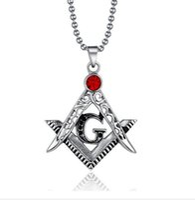 Wholesale ruby gemstone pendants for sale - Group buy Retro Ruby Pendant Metal Freemason Masonic Symbol Pendant Charm Pendant Necklace Red Gemstone Pendant Nencklac Jewelry