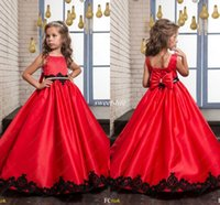Wholesale Satin Ruffle Baby Dress - Black and Red Wedding Flower Girl Dresses 2017 Princess Vintage Lace Beaded Bow Satin Sleeveless Baby Child Party Formal Birthday Dresses