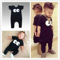 Wholesale Kid Clothing Logo - high quality baby romper Infant kids Boys girls Clothes Short Sleeve black Rompers funny eyes brand logo Outfits Bodysuit Jumpsuit TOP Sets