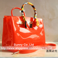 Wholesale White Black Jelly Beach Bags - Wholesale- High quality luxury women jelly candy color handbag summer beach waterproof rubber beach bag