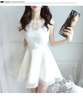 Wholesale Korea Women Floral Dress - Fashion Sexy Party Lace Dress Korea Style Embroidery Wedding See-through Sleeveless Organza Embroidered Spring Bottomin Women Dress