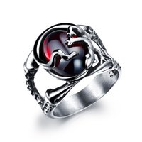 Wholesale men s jewelry Stainless Steel lizard with red gem rings
