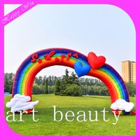 size: 6m L outdoor wedding arches - rainbow wedding inflatable entrance arch outdoor inflatable event archway balloon for sale