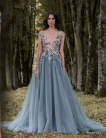 Wholesale Cheap Plunge Dresses - 2017 Paolo Sebastian Lace Prom Dresses Sheer Plunging Neckline Appliqued Party Gowns Cheap Sweep Train Tulle Beads Evening Wear For Women