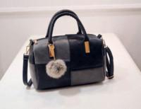 Wholesale Mini Shoulderbag - New Women Handbag Good Quality PU Leater Bag Fashion Women bag Original Women Messenger Bags Tote Fur Ball Shoulderbag B094