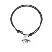 Wholesale korean pendant design - Simple Design Adjustable Charm Bracelet Antique Silver Pendant Charm With Message Vegan Korean Wax Cord Bracelet Pesonalized Jewelry