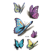 Wholesale henna stickers - Wholesale- Colorful Butterfly 3D Temporary Tattoo Body Art Flash Tattoo Stickers 1PCS Waterproof Henna Tatoo Selfie Fake Tattoo Sticker