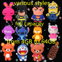 Wholesale Pen Drive Cartoons - Full real capacity cartoon USB 2.0 flash pen drive flash disk u-disk 4gb 8gb 16gb 32gb 64gb memory stick various styles DHL