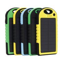 Wholesale monocrystalline solar cell for sale - 5000mAh Solar Charger and Battery Solar Panel portable power bank for Cell phone Laptop Camera MP4 With Flashlight waterproof shockproof