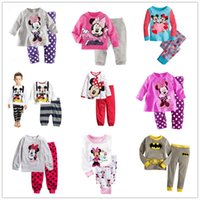 Wholesale Minnie Pyjama - 6 sets lot Children Baby Girls Boys Kids Mickey Minnie Mouse Batman Full Sleeve Pajamas Suit Boy's Girl's Sleepwear Homewear Pyjamas Sets