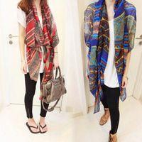 Wholesale Trendy Shawls - Fashion Trendy Bohemian Women's Long Print Scarf Wrap Ladies Shawl Large Pretty