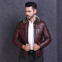 Wholesale Genuine Fur Jackets Coats - 2017Autumn Winter Natural Genuine leather Men Clothing Jackets Sheep Fur Leather Wool Lapel Neck Long sleeve Down Liner Thick coat