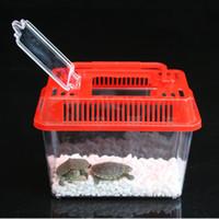 hamster yuvası toptan satış-Plastik Kafes Sevimli Hayvan Ev Küçük Goldfish Hamster Kaplumbağa Yuva Şeffaf Kapak Güzel Ev Taşınabilir Pet Taşıyıcı 1 35jj F R