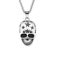 Wholesale Titanium Skull Pendants - Wholesale 10Pcs lot 2017 Hot Sale Fashion Jewelry Pendant Retro Devil Skeleton Demon Skull With Stars Titanium Steel Silver Necklace Men