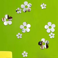 Wholesale Flower Illustrations - Creative home decor backdrop sticker Acrylic wall sticker red flowers illustrations new 2016 European and American fashion