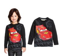 Wholesale Hoodies Cars - hot selling boys top tshirt Cartoon Cars personalized printed black t shirt Baby Kids Boy Long sleeve T-Shirt Blouses Hoodie free shipping