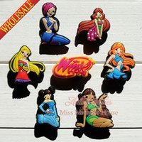 Wholesale Party Winx - Wholesale-100pcs Winx Club Cartoon Shoe Charm Fit Bands Bracelets Croc,Lovely Shoe Buckles Accessories Cosplay Shoe Party Gifts