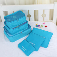 Wholesale suit bags online - Storage Bag Six Piece Suit Double Zipper Protable Travel Water Proof Cloth Bags Luggage Clothes Sundries Package Solid Color xb R