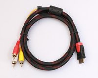 Wholesale Video Converter Component - 5Ft 1.5m HDMI To 3 RCA Video Audio AV Component Converter Adapter Cable For HDTV DVD