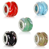 Wholesale European Glass Beads Free Shipping - Free shipping European Style Charm Lampwork Glass Beads Drum Mixed Ripple Transparent About 13x10mm 20pcs lot jewelry making DIY