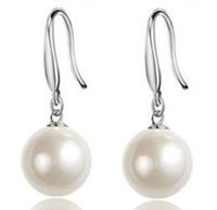 Wholesale Natural Pearl Silver Plated - Women Jewelry 925 sterling Silver Earring Natural Pearl Drop Dangle Hook Earrings Ear Rings ear studs Earings Top Quality