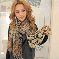 Wholesale leopard print scarves for women - Wholesale- 2014 Hot Sell Sexy Fashion Shinning Leopard Print Chiffon Shawl Scarf for Women and Girls Hot Newest
