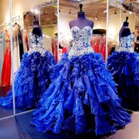 Wholesale Year 12 Formal Gowns - Sweet Sixteen Dresses Quinceanera Real Picture 2016 Sweetheart Beading Crystal Lace Up Organza Ball Prom Formal 16 Years 15 Gowns Vetidos