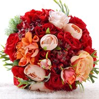 Wholesale Cheap Decorations For Christmas - WF062 New Bridal Wedding Bouquet Wedding Decoration Artificial Bridesmaid Flower Red Orange Silk Bridal Flower Cheap For Garden Wedding