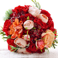 ingrosso mazzo artificiale nuziale arancione-WF062 Nuovo Bridal Wedding Bouquet Wedding Decoration Artificiale Fiore Damigella d'onore Rosso Arancione Silk Bridal Flower Cheap For Garden Wedding