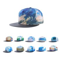 Wholesale 3d Swag Hat - 2016 Vogue sea wave casquette 3D print stitching dance hip hop hats Gorras baseball caps swag trucker Women men snapback cap