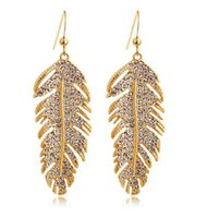 Wholesale Jewelry Wholesale Feather Earrings - Wholesale Silver Gold 18K Gold Plated White Gold Austrian Crystals Feathers Love Dangle Earrings for Women Wedding Jewelry Fashion Earrings
