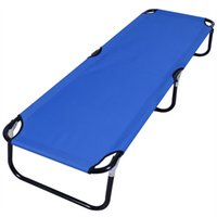 Wholesale travel cots - Blue Folding Camping Bed Outdoor Portable Military Cot Sleeping Hiking Travel