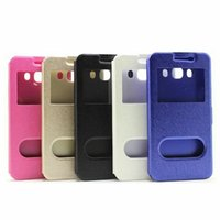 Wholesale Iphone Cases Caller Wallet - Caller ID Wallet Leather Pouch Case Open Window Silk Stand Ultra thin For Samsung Galaxy A7 2017 A810 J710 J510 Iphone SE 5 5S Cover 200PCS