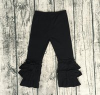 Wholesale Wholesale Baby Clothing Online - Baby Fashion Clothes Online Hot Sale Baby Girl Black Icing Long Pant Children Triple Ruffle Pant Cheap Wholesale