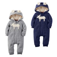 Wholesale One Piece Thick - 2016 New Autumn Winter Baby Thick Hooded Romper Christmas Deer Warm One-Piece Jumpstuits Xmas Infant clothes 2 Colors