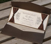 Wholesale Brown Wedding Invitation Cards - Brown Pocket Wedding invitations Free Personalized Printing With RSVP Wedding Cards With Ribbon NK-132 Free Shipping