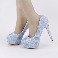 Wholesale High Comfortable Platform Wedding Shoes - Blue Lace Prom Shoes Handmade Rhinestone Bridal Dress Shoes Platform Formal Shoes 5.5 Inches Comfortable Wedding Party Pumps